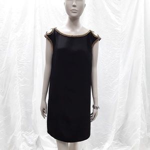 Magaschoni 100% SILK black gold beaded Shift dress